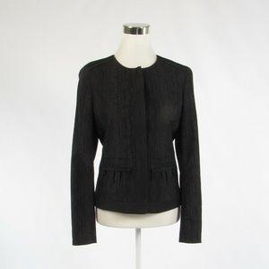 Tahari black textured long sleeve jacket 8